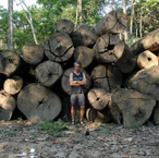 Chris Kilham with felled Amazon Rainforest Trees