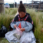Shaman Dona Lucy reading the Coca leaves, Peruvian Andes